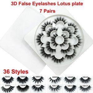 Visón 3D Pestañas Falsas Volumen Dramático Pestañas Tira 5D 36 Estilos Extensión de Pestañas Falsas Visón Faux Grueso Natural Pestañas Suaves Lotus placa