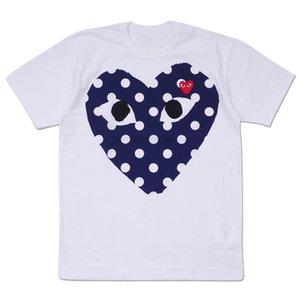 TEE a melhor qualidade New G 1 CDG coração feriado Emoji JOGO T-shirt da camisa T maré Moda pêssego algodão letras amantes do coração backwinding preto