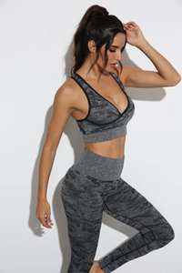 Col V-Col V-Col Sexy Womens Yoga Tenue costume Running Gymshark Sportwear TrackSuits Fitness Camouflage Gym Two Piece Set Soutien-gorge Leggings Pants