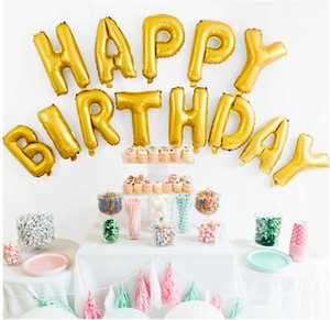 Happy Birthday Balloons Golden,16 inches Aluminum Foil Banner Gold Color Letter Balloons for Birthday Party Decoration