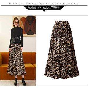 Plus Size Leopard Print Designer Gonne delle donne sottili gonne di colore naturale adatta a linea Casual Gonne Abbigliamento da donna