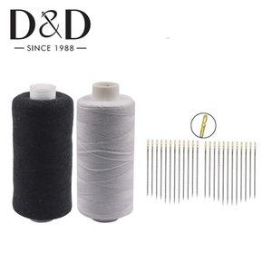 2pcs 500M polyester Fils à coudre Bobines 12pcs Auto Threading Aiguilles à coudre Aiguilles Craft Tissu Diy quilting Fournitures couture wZpWc