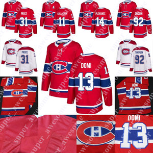 13 Max Domi Jersey 31 Carey Price 11 Brendan Gallagher 92 Jonathan Drouin 14 Tomas Plekanec Hockey Maillots Hommes Femmes Enfants Rouge Blanc