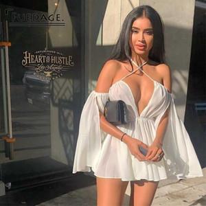 Fuedage 2019 gasa vestido ocasional del verano sin tirantes del hombro sexy dress cuello en v profundo slash neck club elegante mini vestido y19051001