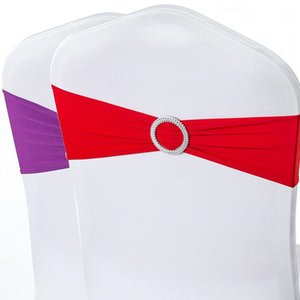 Wholesale Spandex Lycra Wedding Chair Cover Sash Bands Party Birthday Chair Decoration Banquet Chair Sashes Bow Tie 40 Colors DHL Free