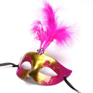 Partito della mascherina Gold Glitter veneziana Unisex Sparkle travestimento di plastica maschera di protezione mezza di Halloween Mardi Gras costume Toy 6 colori DBC DH1352