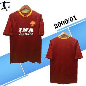 أعلى 2000 2001 روما ريترو لكرة القدم بالقميص الرئيسية قميص TOTTI قميص كرة القدم 00 01 BATISTUTA جيرسي روما كلاسيكي مايوه دي القدم