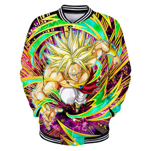 2019 NEW Anime movie Super: Broly 3D print Baseball uniform رجال / نساء ملابس كاجوال المتناثرة البيسبول سترات