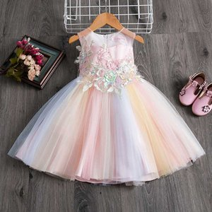 Appliques Flower Summer Dress for Girls 2020 Vintage Formal Party Baby Girl Clothes Lace Dress Wedding Evening Children Clothing