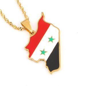 Síria Árabe País Nome Mapa Pingente Colares Sírios Mapas Jóias Presentes de Aço Inoxidável