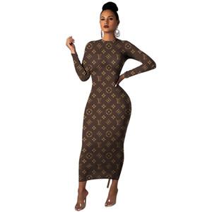 Elasticità Dress Club Sexy Wrap dolcevita aderente lettera stampata Vestito longuette a maniche lunghe Slim Autunno Moda Donna