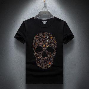 Mens Designer T Shirts Skull Hot Diamond Summer Half-sleeved Slim Plus Size Bottoming Shirt Fashion Trend Casual Tees Top Quality