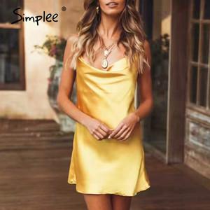 senhoras da praia do verão Simplee Sexy decote em V spaghetti strap vestido mulheres partido Clube sólida noite de seda feminino curto vestido de verão mini-vestido