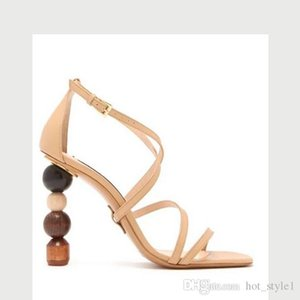 New Style Personality Woman Ankle Strap Hollow Out High Heel Sandals Femal Shaped Building Blocks Heel Sandals Personality Asymmetry Shoes
