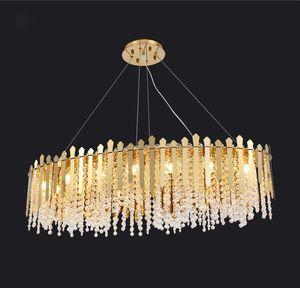Lungo lampadario luce del pendente di cristallo dell'oro metallo Soggiorno domestico di arte della lampada PA0619 Modern Luxury