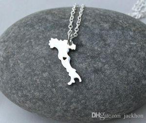 5PCS- European Country Map Italy Necklace Charm Italian Italia Pride I Heart Love Capital of Italy Rome City Necklaces for Souvenir