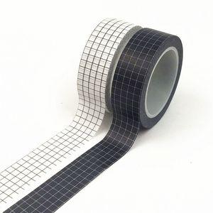 10M Cintas adhesivas de rejilla blanca Washi Tape japonesa Papel DIY Planner cinta adhesiva negra y Cintas Adhesivos decorativos papelería 2016