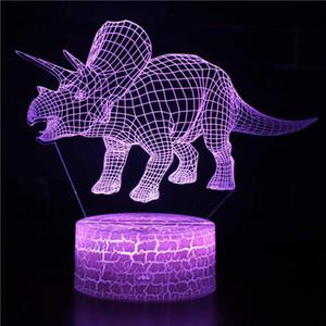 Dinosaur Base blanche Beau changement 7 couleur lampe 3D Usb dinosaure cadeau créatif Led Luminaria De Mesa 3D Led Night Light JK0080A