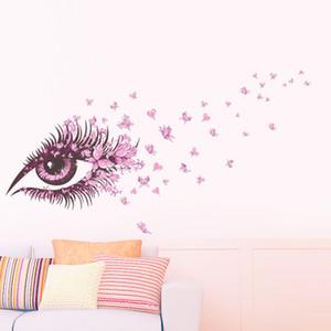 20190621 Cor-de-rosa Olhos Borboleta Amor Quarto Restaurante Fundo Decoração Removível Papel De Parede
