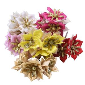 6 / 15pc fiesta de la boda flores de seda para jardín rojo de gardenia flor artificial del brillo brillante del ramo de la decoración del oro del arte de DIY