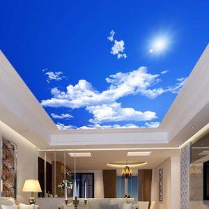 Перевозка груза падения голубое небо белые облака Солнечный свет потолка Zenith Mural на заказ Фото обои для ПОТОЛКОВ Mural Wallpaper
