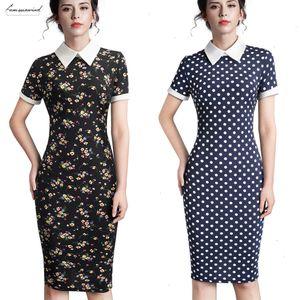 Career Women Autumn Turn Down Collar Fit Work Dress Vintage Elegant Business Office Pencil Bodycon Midi Dress 751