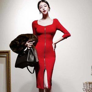 2020 Red 3/4 lápis na altura do joelho da Coréia Primavera zipper Bainha Bodycon Dividir sexy vestido Mulheres do partido de pano
