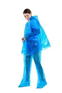 Dividir desechable abrigo impermeable de PVC de una sola vez poncho paseo en moto capa de lluvia Trajes de lluvia pantalones impermeables Traje protector de tela GGA3367-4N