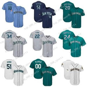 Custom Baseball Jerseys Mens Jersey Mitch Haniger & Yusei Kikuchi & Ken Griffey Jr & Ichiro Suzuki