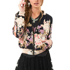 패션-도매 -Boho 빈티지 꽃 인쇄 폭격기 재킷 여성 코트 가을 긴 소매 캐주얼 코트 아우터 Chaqueta Mujer
