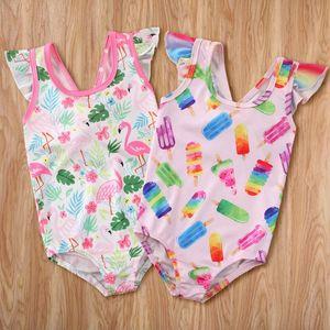 hirigin New Kids Swimwear Baby Girl One-Piece Swimsuit Ice Cream Flamingo Print Monokini Kids Girl Beachwear Bathing Suit 1-5Y