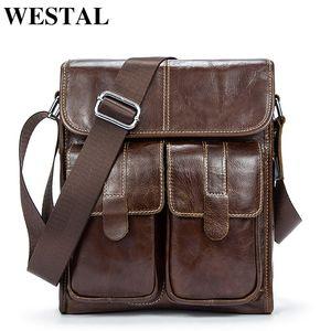 Westal Genuine Leather Bag Men Bags Men Messenger Bags Hombre Pequeño Flap Hombro de cuero Vintage Crossbody Bolsas para hombre 366 Y19061803