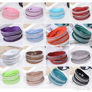 Crystal Bracelet for Women Slake Deluxe Leather Wrap Wristband Cuff Punk Bracelet Bangles Fit Party Best Gift 18 Colors