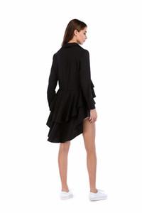 Orgreeter Más reciente Moda camisa irregular diseño largo blusa de cola de milano barrido elegante personalidad suelta top vestidios femeninos