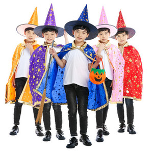 Halloween Cape Cloak hood+cloak 2pcs set Children's Performer Magician Wizard Hot Stamping Five Star Cloak Cape EEA227