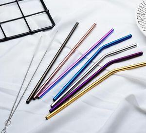 6 * 215mm 304 Edelstahl Stroh gebogen und gerade wiederverwendbare bunte Strohhalme Metall Stroh Reiniger Pinsel Bar Trinkwerkzeug