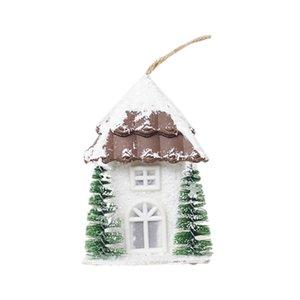 ABFU-Christmas Snow House Pendant Christmas Wooden Cottage Creative Plastic with Lights Ornament Hotel Wedding Night Light Decor