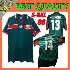 Ретро классический 1998 Кубок мира Главная Марокко трикотажных изделий футбола размер ХАДЖИ OUAKILI NEQROUZ Bassir 98 Ретро футбол рубашка: S-XXL