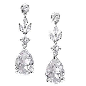 Drop Earrings for Women,Bridesmaids,Brides -Teardrop Crystal Rhinestones Cubic Zirconia Earrings Dangling