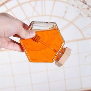 Vetro Miele Jar Per 220ML / 380ml Mini Piccolo Honey Bottiglia Contenitore Pot Con bastone di legno Cucchiaio EEA1353-4