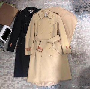 Женские плащи Ветровка длинное пальто свободно водонепроницаемой верхней сплошной цвет двубортный английский стиль осень зима 35 GU4