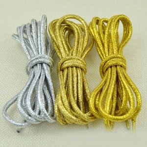 1 Pair Fashion Gold Silver Silk Glitter Reflective Shoelaces For Sneakers Casual Round Pearl White Colored Shoe Strings Cordones