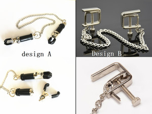Square Shape Adjustable Steel Nipple Clip Clamps Breast Flirt SM Bondage Metal Nipple Chain Chained Sex Toys Women Female Sex Toys