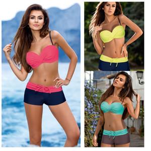 Новые сексуальные женские пляжные бинты Bandeau Bikini Set Цветочный купальник с низкой талией Пояс Купальники Push Up Мягкий купальный костюм
