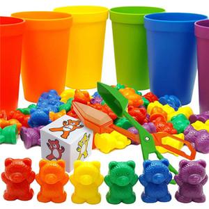 100pcs + Arcobaleno sensoriale Giocattoli Contando Bears corrispondenza Ordinamento tazze dei bambini Giochi per bambini Learning prescolare educativo Montessori Giocattoli Y200428