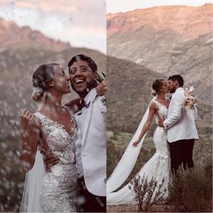 2020 Classic Milla Nova sirena sexy Abiti da sposa con pizzo Appliques scollo a V Boho Abiti da sposa Plus Size Beach Wedding Gowns