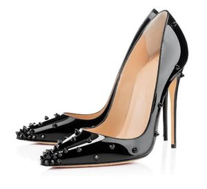 With box 2019 Fashion luxury Red Bottom Women Handmade Fashion Egraspike 120mm Pointed Toe Slim Heel Spikes Party Evening Pumps Shoes Black