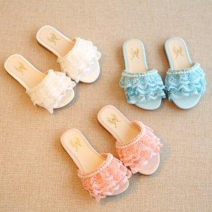 Rahat Çocuk Flip Flop Terlik Çocuk Ayakkabı Bebek Kız Ayakkabı Inci Dantel Terlik Sandalet Kızlar Prenses Plaj Sandalet