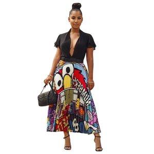 2020 Dashiki African women's wear new women retro cartoon print sexy high waist long leg African pleated skirt active wear