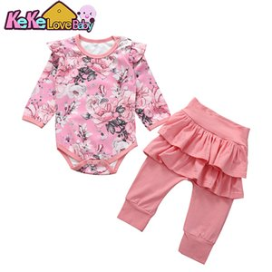 Baby Girl Clothes Newborn Infant Clothing Set Long Sleeve Ruffle Romper Leggings Pants Floral Outfit Toddler Clothes Set 0-24M